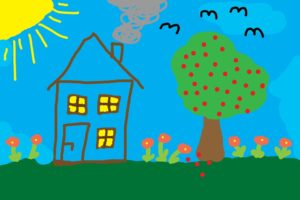 Child's drawing of a houseHome
